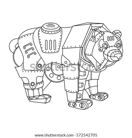 Technical drawing blue print illustration robot stock Steampunk animals coloring book