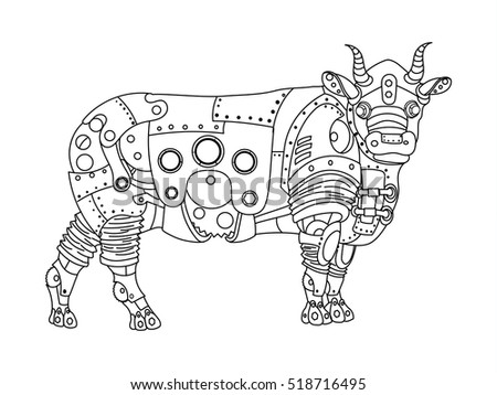 Stock images royalty free images vectors shutterstock Steampunk animals coloring book