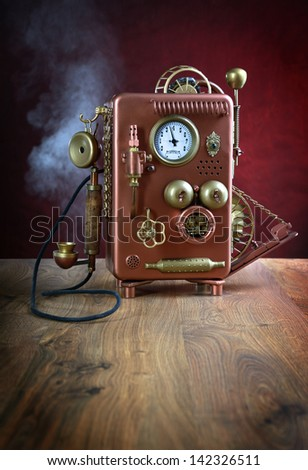 Steampunk style future Phone. Hand/home made model. - stock photo