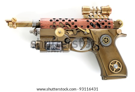 Steampunk style future pistol. Hand/home made gun. - stock photo