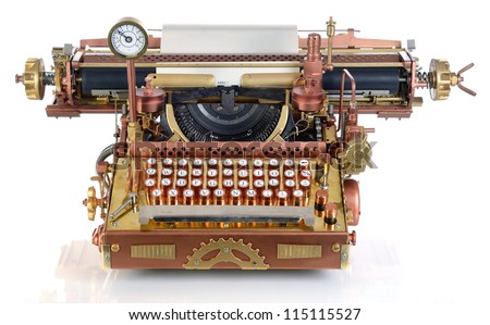 Steampunk style future Typewriter. Hand/home made model. Focus on the keyboard