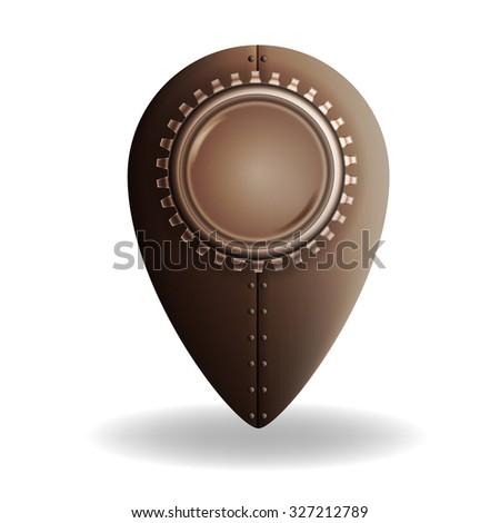 Steampunk style location pin icon - stock photo