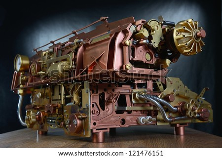 Steampunk style mechanism. Hand/home made model Typewriter. - stock photo