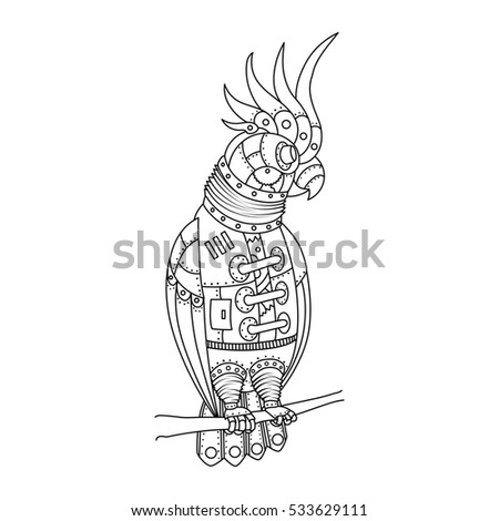 Steampunk Style Parrot Mechanical Animal Coloring Stock Illustration ...