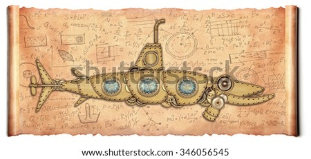 Steampunk style. Submarine. Photo compilation - stock photo