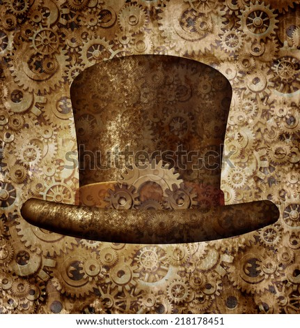 Steampunk top hat as a science fiction concept made of metal copper gears and cogs wearing a historical victorian retro head accessory as a technology symbol of futuristic fictional machine hybrid. - stock photo