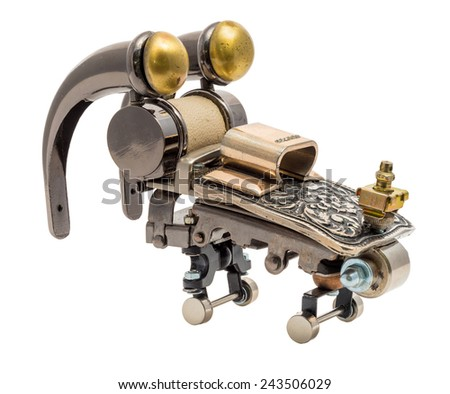 Steampunk vehicle. Cyberpunk style. Chrome and bronze parts. Isolated on white. - stock photo
