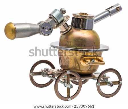 Steampunk vehicle. Cyberpunk style. Chrome and bronze parts. Isolated on white background. - stock photo