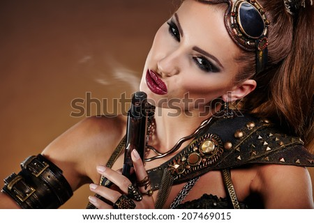 Steampunk woman over gunge background. . Fantasy fashion for cover.  - stock photo