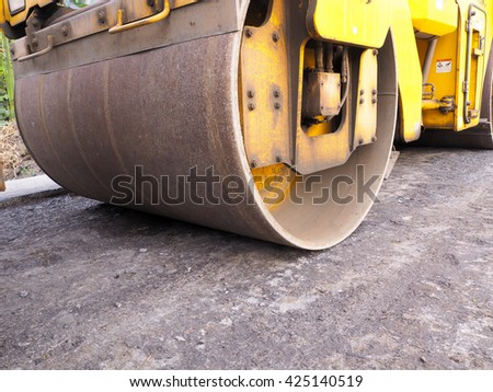 Steamroller at construction site