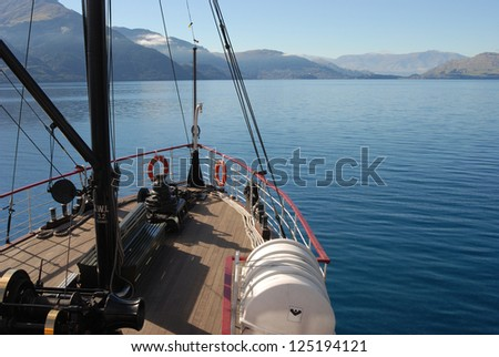 Steamship on lake near Queenstown, New Zealand - stock photo