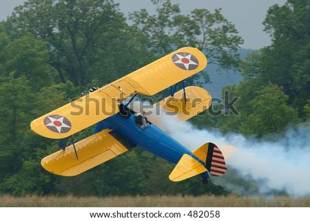 Stearman flying sideways - stock photo
