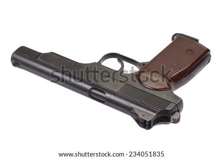 Stechkin automatic pistol APS isolated on white - stock photo