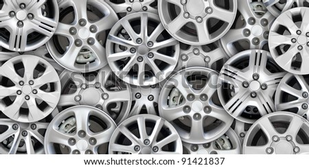 steel alloy car disks background template for design work - stock photo