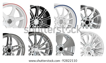 steel alloy car disks on white background - stock photo