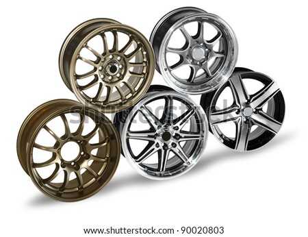 steel alloy car disks over the white background