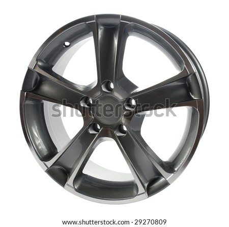 steel alloy car rim on a white background