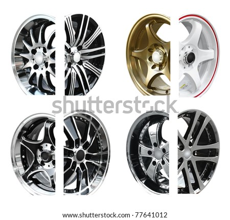 steel alloy car rims on a white background - stock photo
