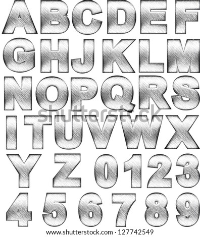 steel alphabet set on white - stock photo