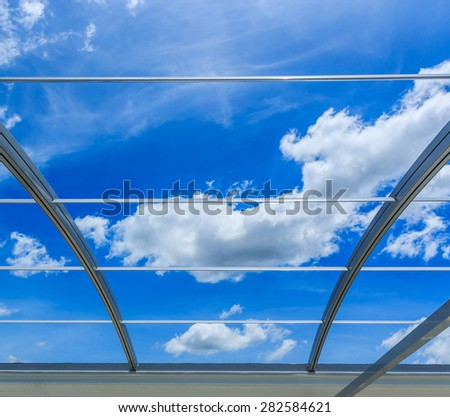 Steel aluminum roof with beautiful sky