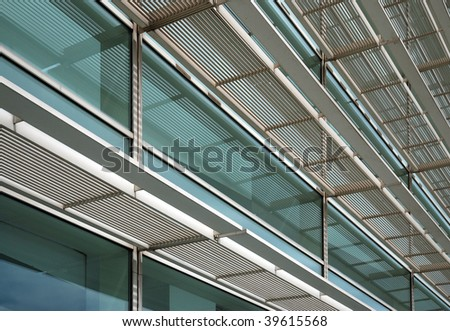 Steel and glass facade of the Contemporary Art Museum in Barcelona, Spain - stock photo