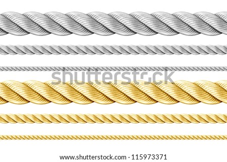 Steel and golden ropes set isolated on white
