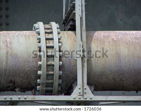 steel and rusty pipeline construction - stock photo