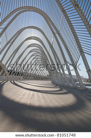 Steel Archway at Stadium in Greece against the sun - stock photo