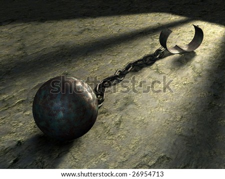 Steel ball and chain in a prison cell. Digital illustration. - stock photo