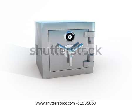 Steel Bank Safe - stock photo