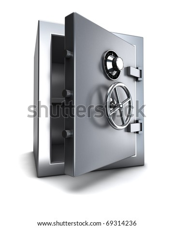 steel bank safe with clipping path - stock photo