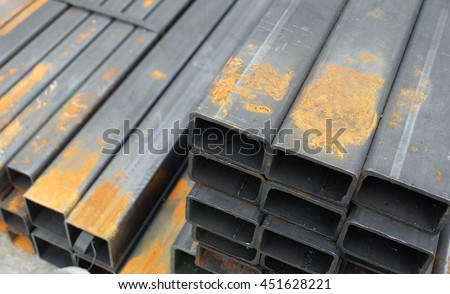 steel bar components in a construction - stock photo