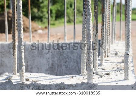 steel bar reinforcement : small building construction site work - stock photo