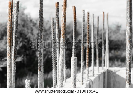steel bar reinforcement : small building construction site work - stock photo