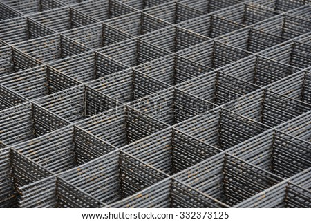 steel bar stacked in construction background - stock photo