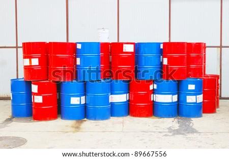 steel barrels - stock photo