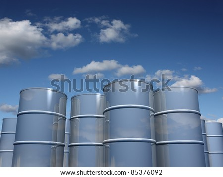Steel barrels with sky background - stock photo