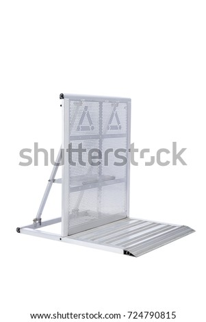 Steel barricades, isolated on white background. Three-quarter view