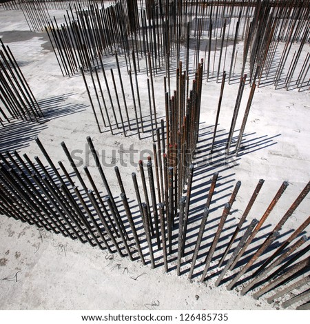 Steel bars for reinforcing concrete. Floor at construction site - stock photo