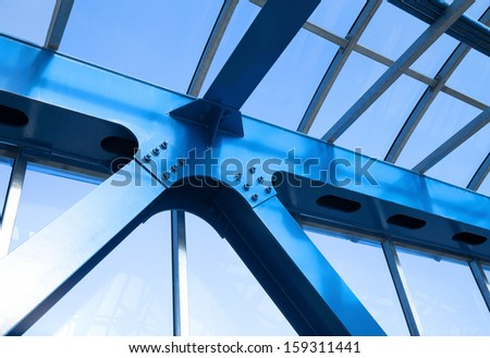 Steel beams. Fragment modern construction. - stock photo