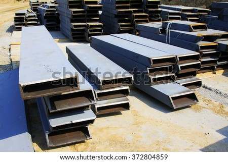 Steel beams in construction site, closeup of photo