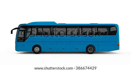 Steel Blue big tour bus isolated on white background - stock photo