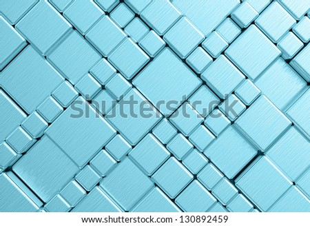 Steel blue cube mesh metal plate background or texture