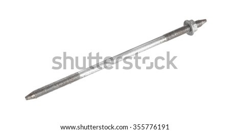 Steel bolt that holds the stock on a rifle isolated on white