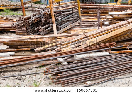 Steel box and steel rods on construction site