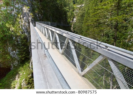 Steel Bridge inside the famous Leutasch Gorge in the German alps, Bavaria - stock photo