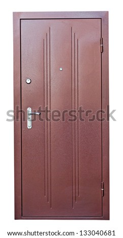 Steel brown doors isolated on white background - stock photo