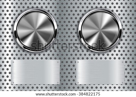 Steel button with metal plate.  illustration  on  perforated metal background. Raster version - stock photo