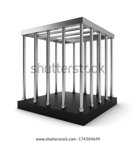 Steel cage. 3d illustration on white background  - stock photo