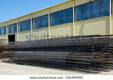 Steel cage made for big reinforced concrete structures and big construction sites - stock photo